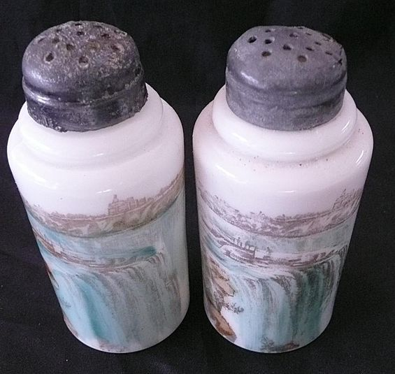 NIAGARA FALLS  Souvenir Porcelain Salt & Pepper Shakers Circa 1890