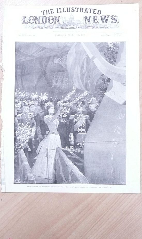 """Launch of The New Battleship """"Prince George"""" 1895 By The Duchess of York"""