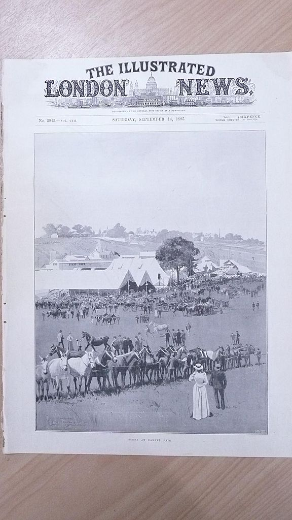 "Front Page Illustrated London News  1895 "" Scene at The Barnet Fair"""