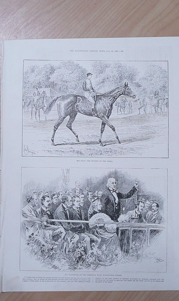 "Full Page Illustrated London News 1892  ""Sir Hydro The Winner of The Derby"""