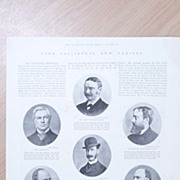 "Full Page Illustrated London News 1892  ""Lord Salisbury's New Cabinet"""