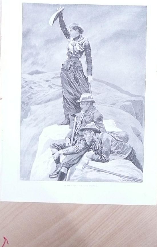 "Full Page Illustrated London News 1895  ""On The Summit"" By R. Caton Woodville"""