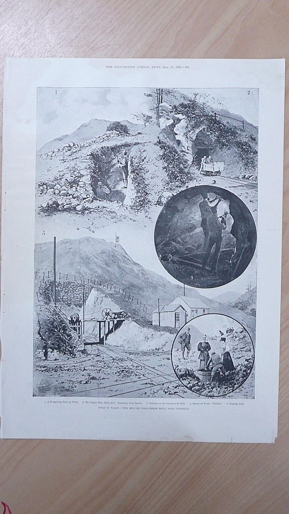 "Full Page Illustrated London News 1895  ""Gold in Wales - Mine Near Dolgelly"""