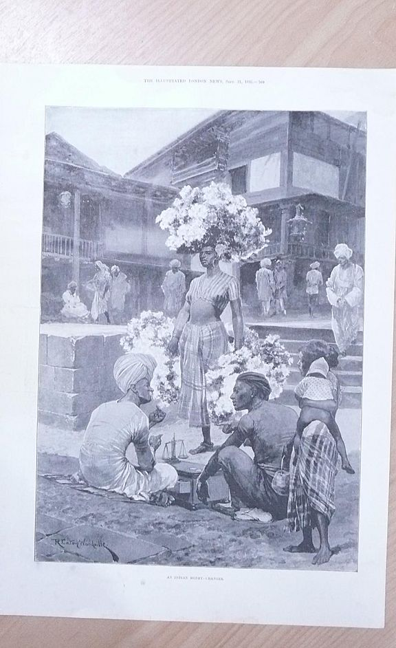 "Full Page Illustrated London News 1895  ""An Indian Money Changer"""