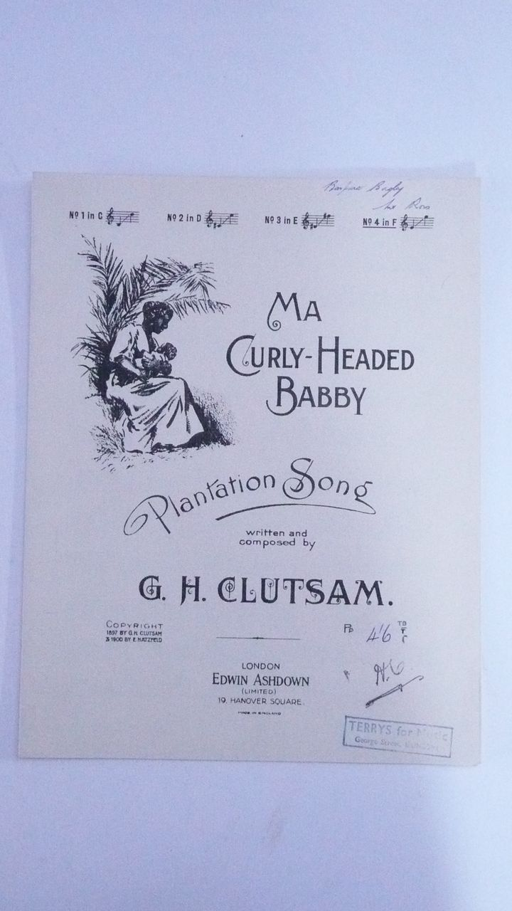 Black Americana Sheet  Music ' Ma Curly Headed Babby' Circa 1900