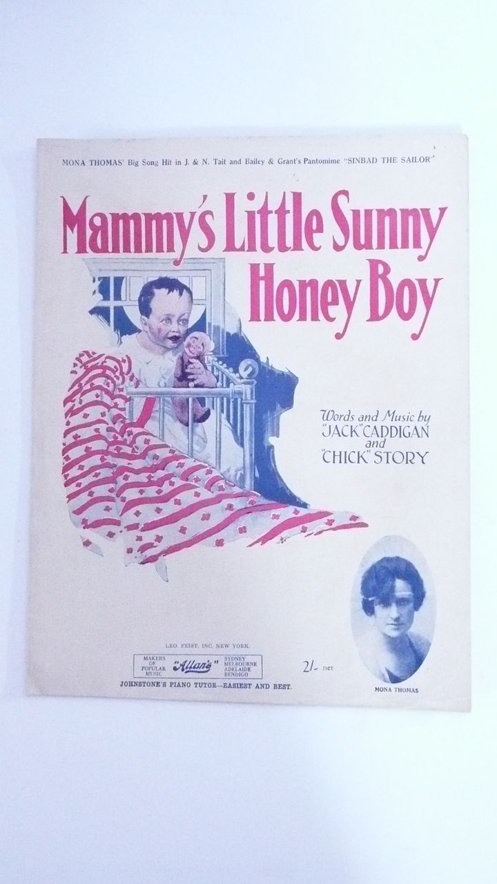 Black Americana Sheet Music ' Mammy's Little Sunny Honey Boy'