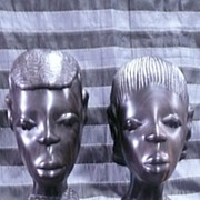 Hand Carved Pair of AFRICAN Native Heads