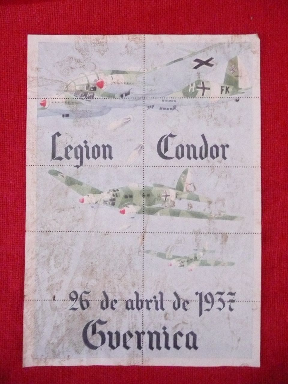 Genuine Spanish Civil War  Propaganda Poster - Condor Legion Coupon Rations Sheet