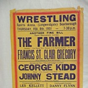 WRESTLING  - Genuine Old 1951 Advertising Poster - Scarborough England
