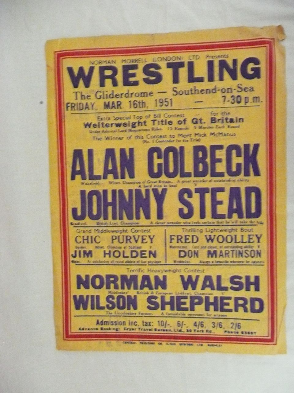 WRESTLING  - Genuine Old 1950 Advertising Poster - Southend on Sea - England