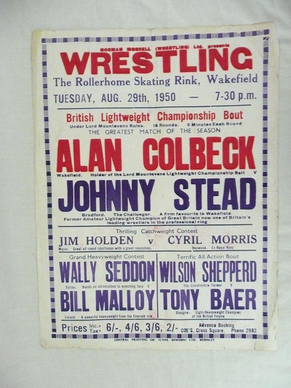 Wrestling Genuine Old 1950 Advertising Poster Wakefield England Antique Goodies Ruby Lane