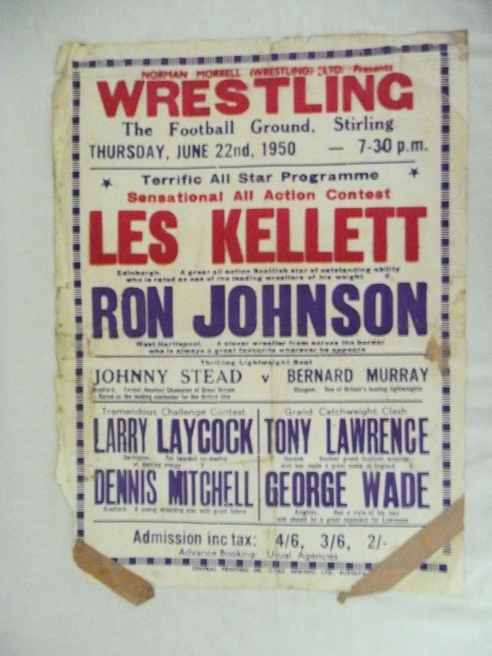 WRESTLING  - Genuine Old 1950 Advertising Poster - Stirling - Scotland