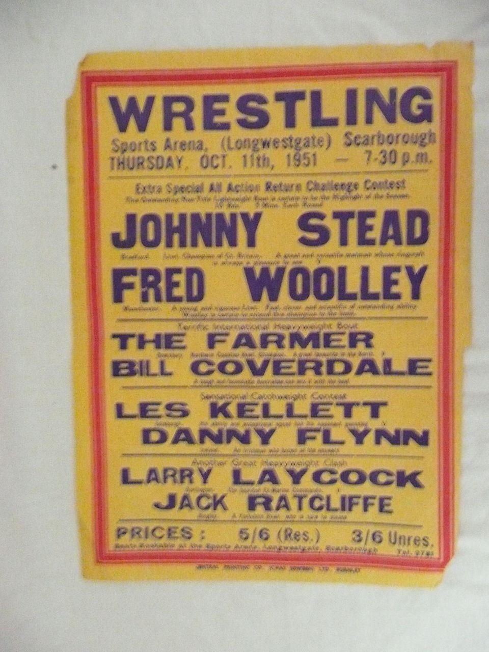 WRESTLING  - Genuine Old 1950 Advertising Poster - Scarborough England