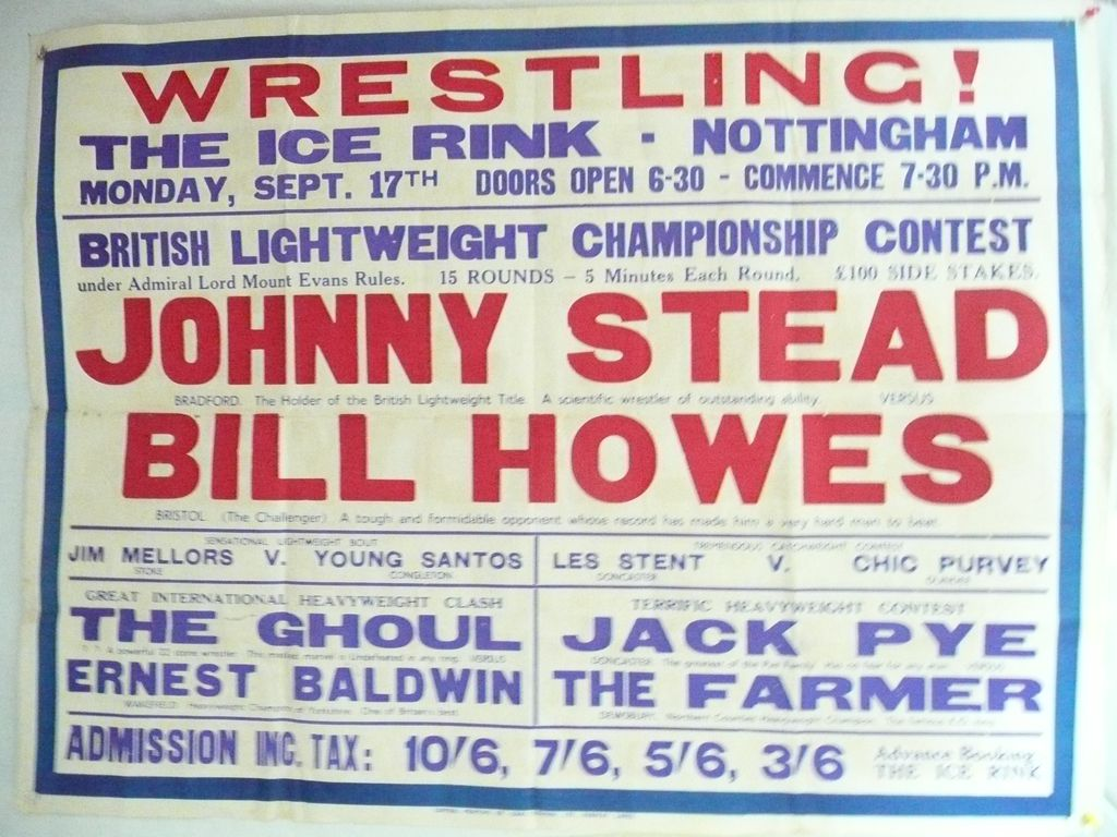 WRESTLING  - Genuine Old 1950 Advertising Poster - Nottingham - England