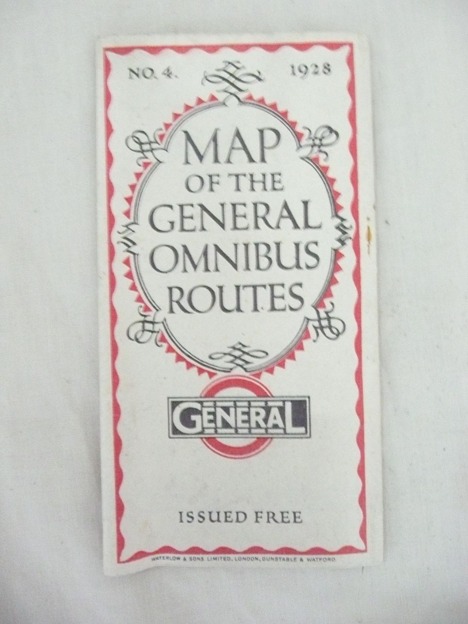 1928 London General Omnibus Company No.4 Route Map