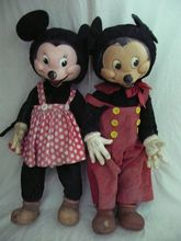 "RARE  LARGE 23"" Tall  GUND Mickey & Minnie Mouse Dolls - Circa 1940"