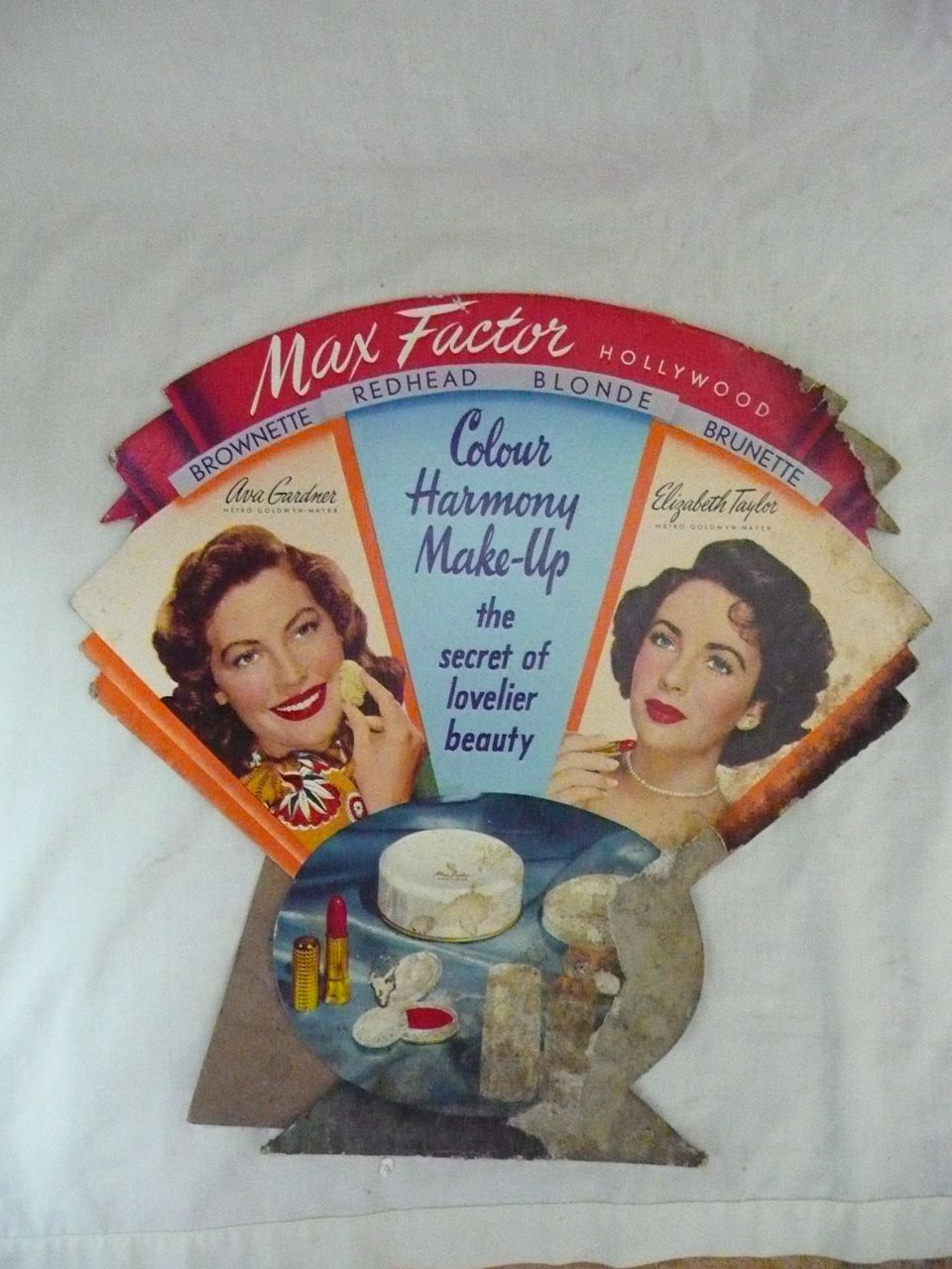 Old MAX FACTOR Advertising Display Card Circa 1940's-50's