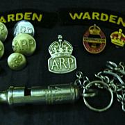 WWII British A.R.P. Warden Group of Badges & Patches & Whistle