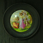Victorian Framed  Porcelain Paste Pot Lid