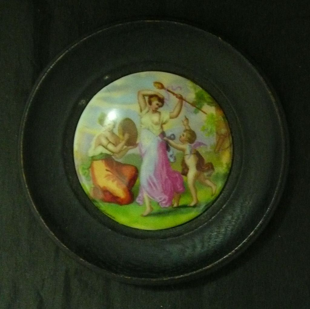 Victorian Framed  Porcelain Paste Pot Lid