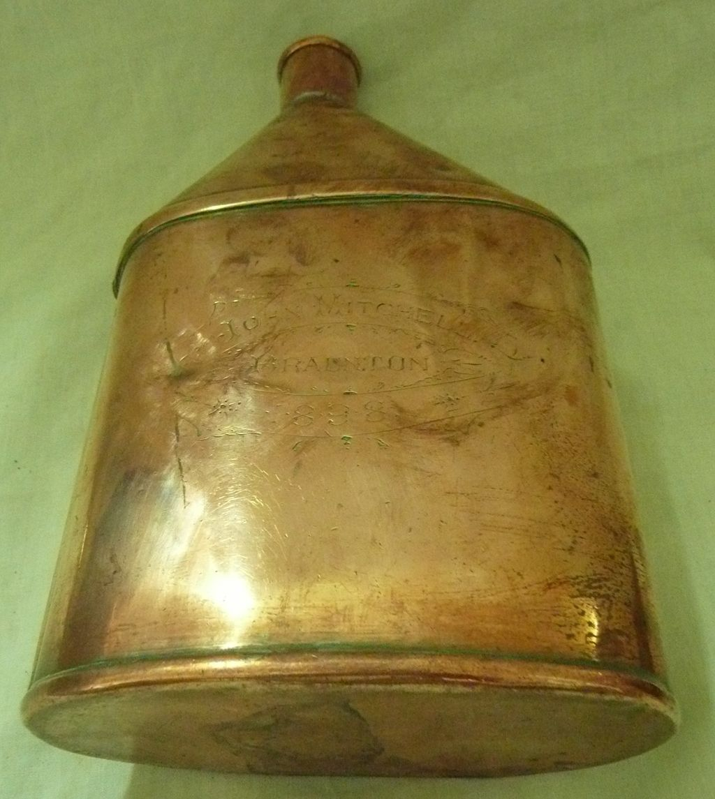 Victorian Copper Water Flask  - Devonshire Dated 1898