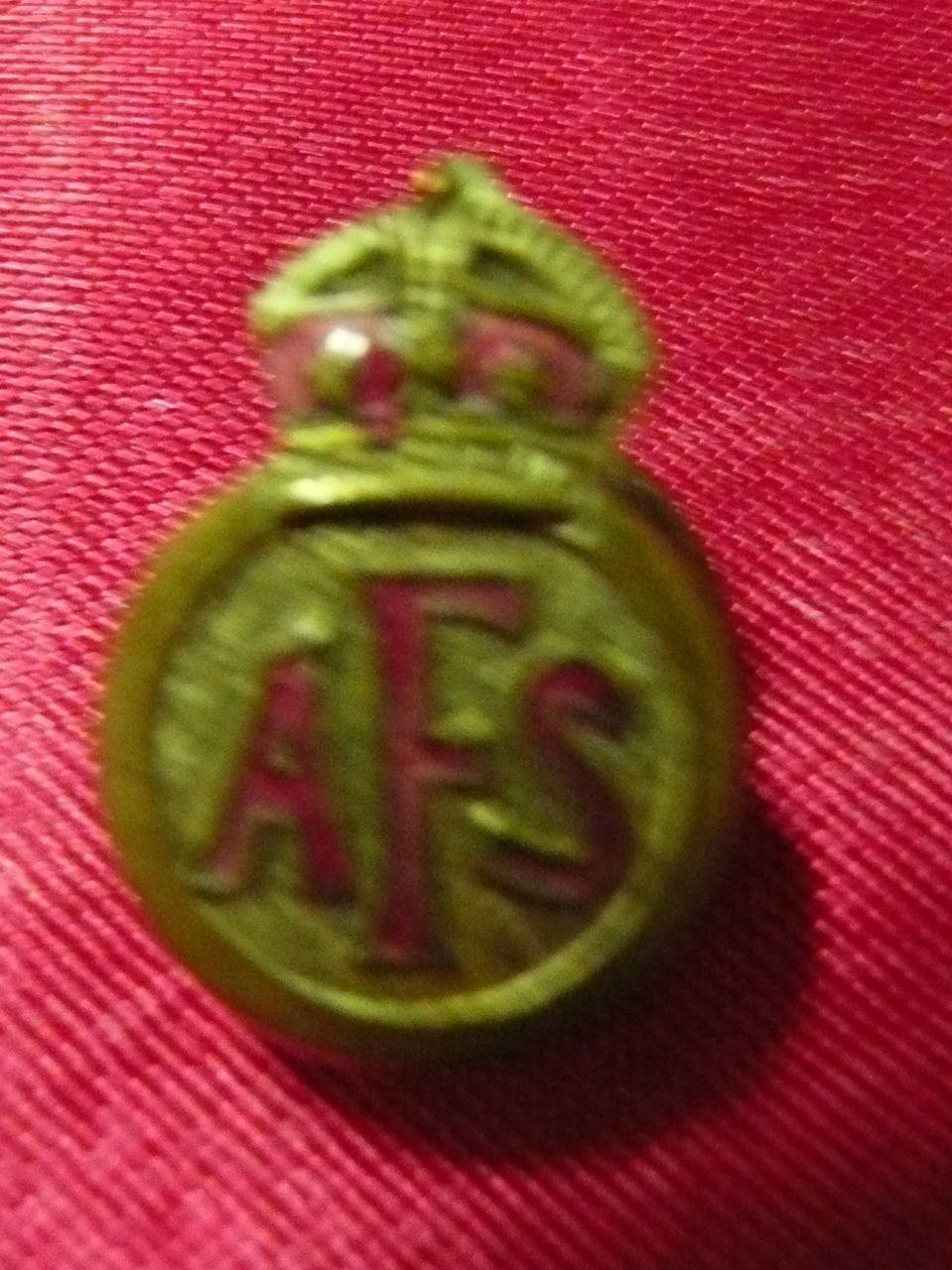 WWII  Auxiliary Fire Service  - AFS ' Lapel Badge