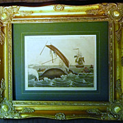A French Antique Engraving of Whale Hunting Circa 1800