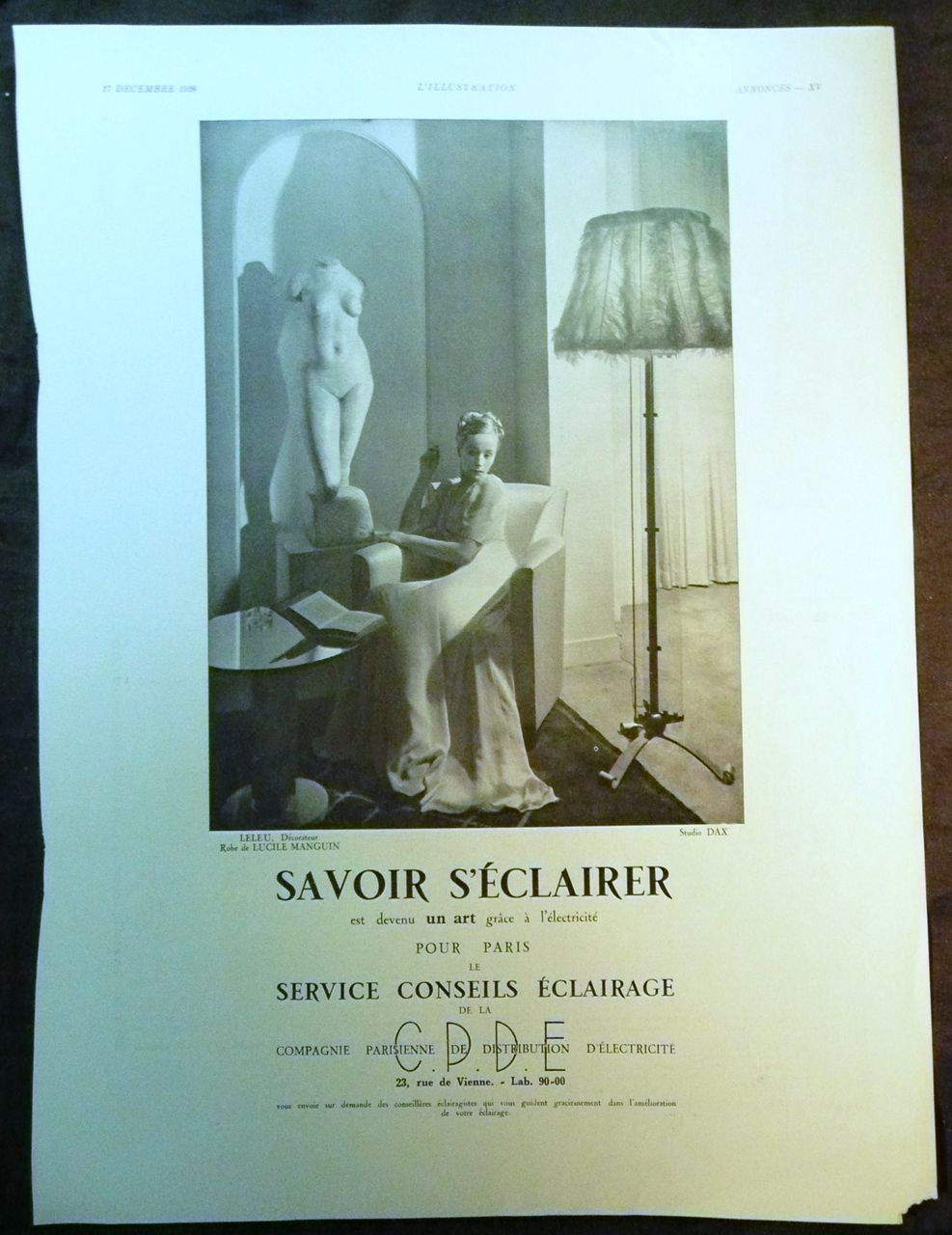 ORIGINAL Savoir SECLAIRER Advert  From L ' Illustration French Magazine December 1938