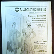 "ORIGINAL ""CLAVERIE"" Advert  From L ' Illustration French Magazine  June 1938"