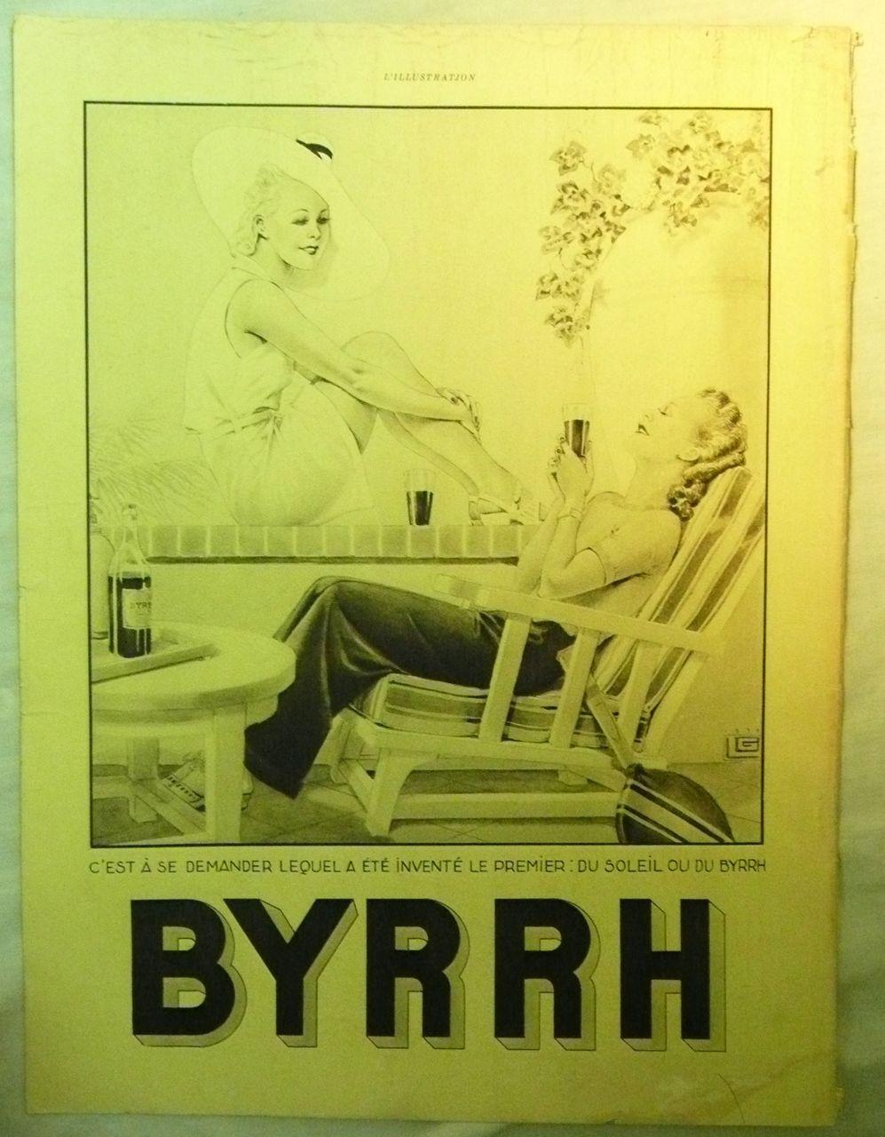 "ORIGINAL ""BYRRH""  Aperitif Advert  From L ' Illustration French Magazine  August 1939"