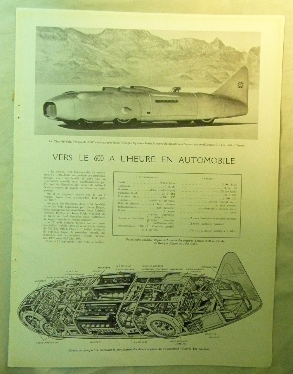 ORIGINAL Feature Pages on JOHN COBB & Le Thunderbolt From L ' Illustration French Magazine October 1938
