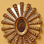 Large Peruvian Retablo 'Sun Mirror' -The Lady of The Candaleria - Circa 1920