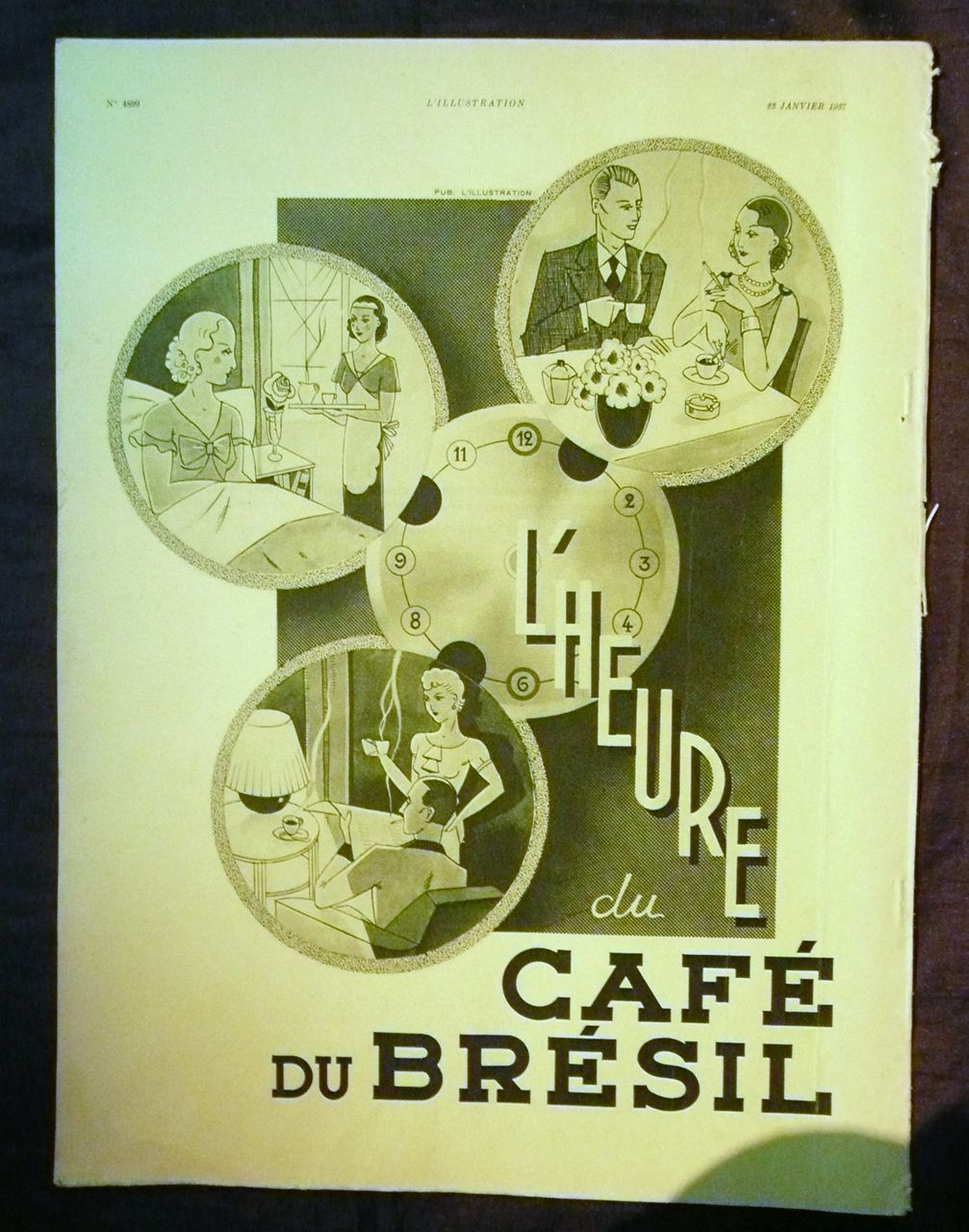 "ORIGINAL ""CAFE DU BRESIL"" Advert From L ' Illustration French Magazine January1937"