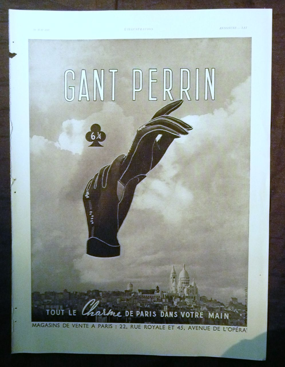 "ORIGINAL ""GANT PERRIN"" Advert From L ' Illustration French Magazine May 1937"