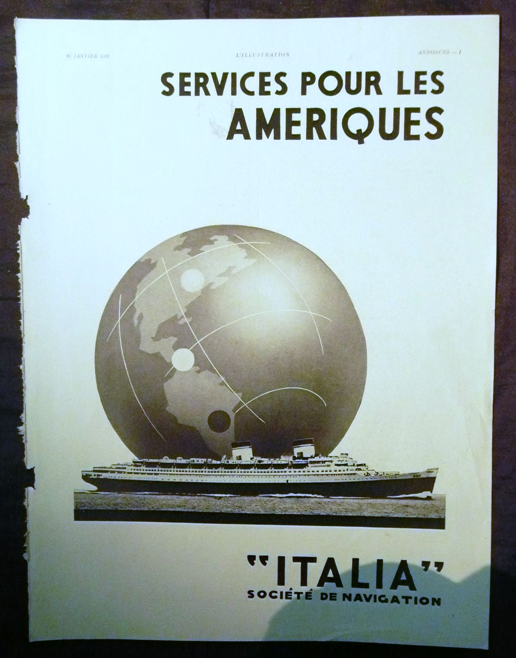 "ORIGINAL ""ITALIA Societe de Navigation"" Advert From L ' Illustration French Magazine January1937"