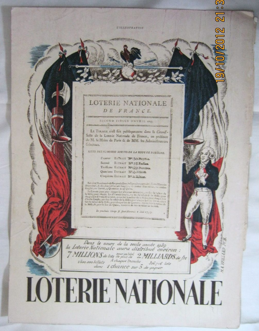 "ORIGINAL "" Lotterie Nationale"" Advert From L ' Illustration French Magazine July 1939"
