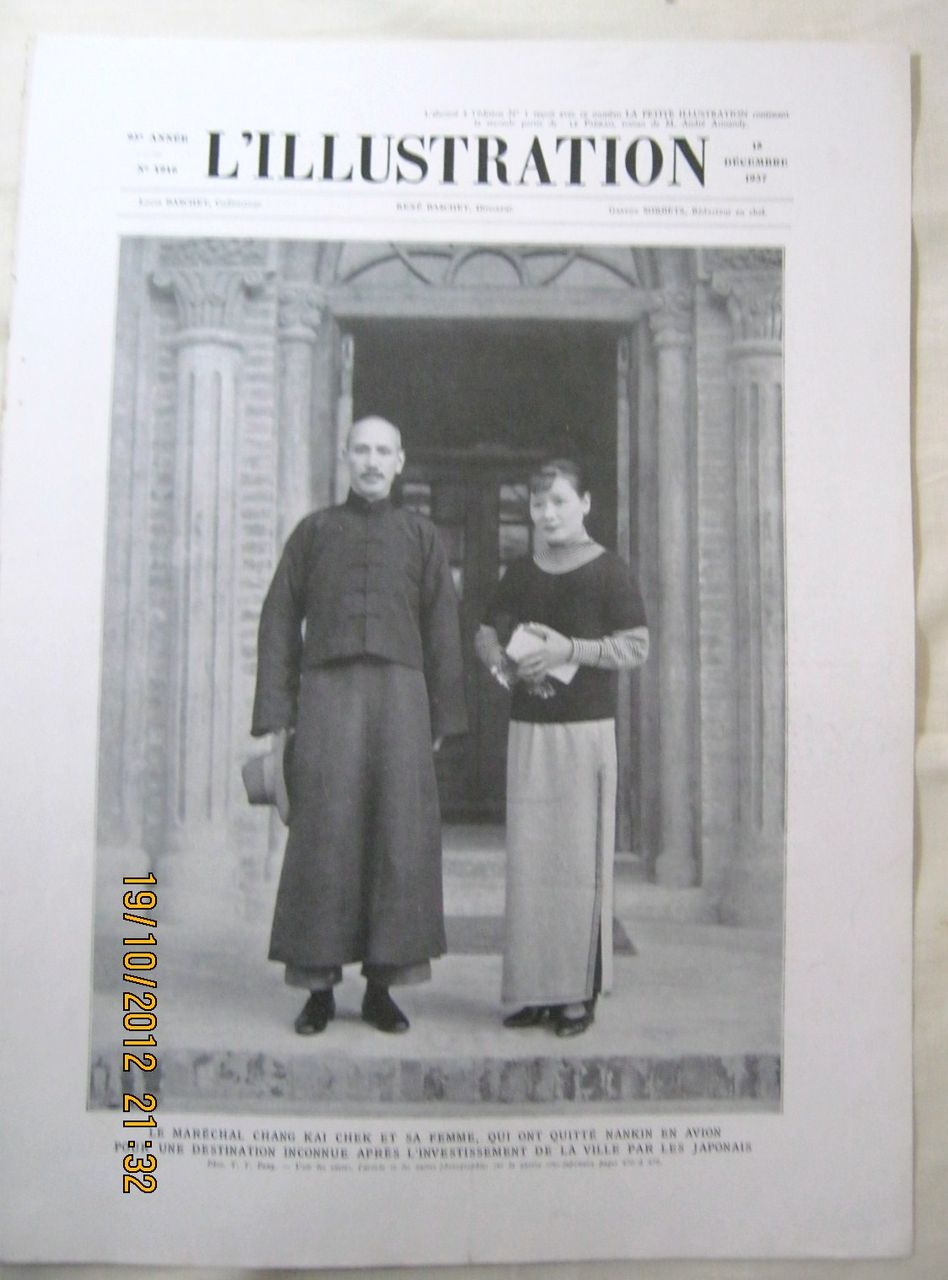 "ORIGINAL Feature Page  "" General Chang Kai Chek"" "" From L ' Illustration French Magazine December 1937"