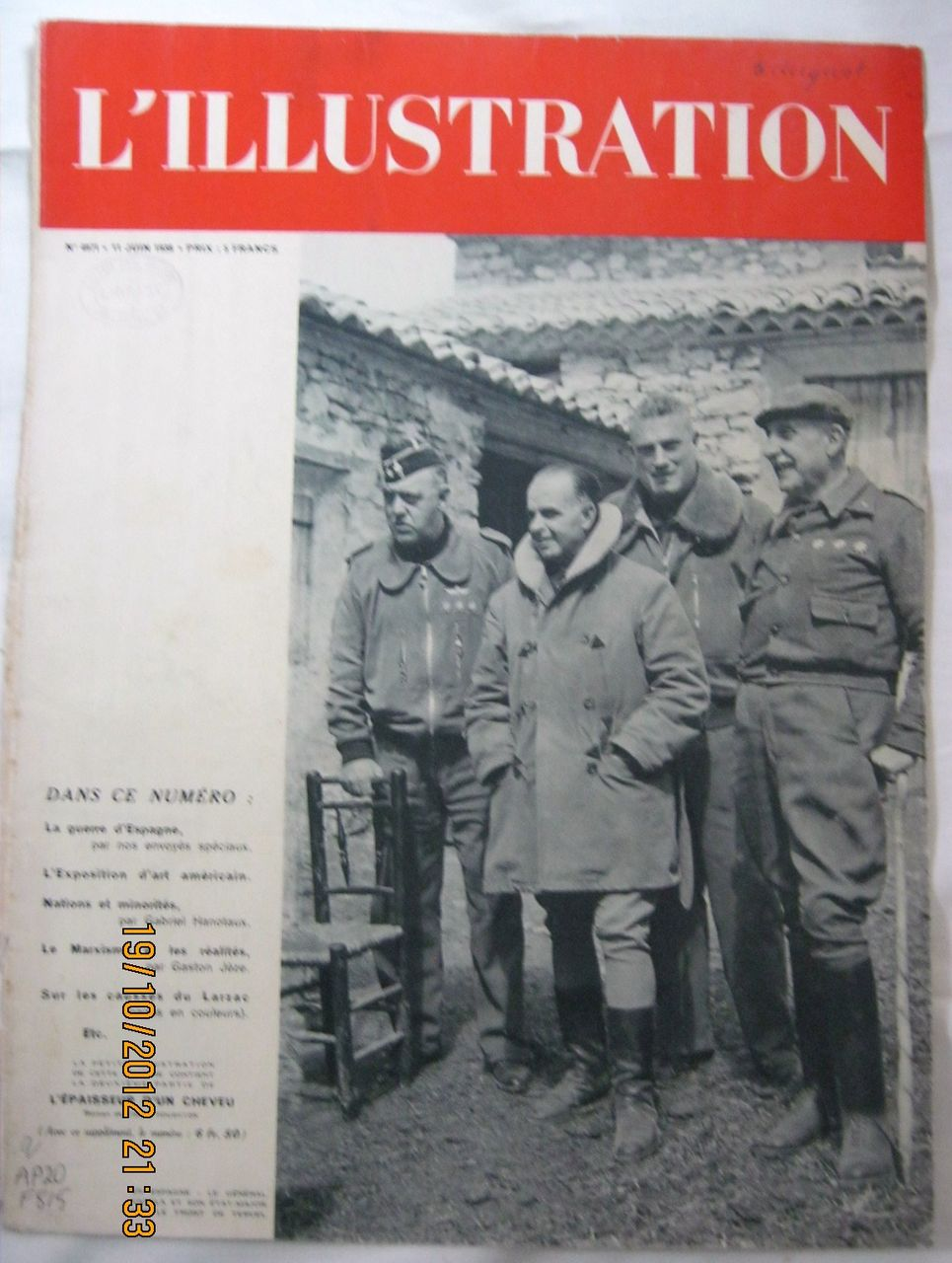 "ORIGINAL FRONT COVER ""Spanish Civil War""   From L ' Illustration French Magazine June 1938"