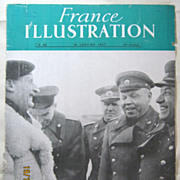 "ORIGINAL FRONT COVER ""General Montgomery & Russian Generals""   From L ' Illustration French Magazine January 1947"