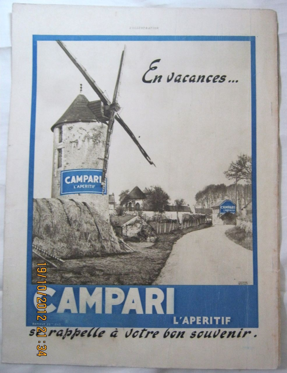 "ORIGINAL ""CAMPARI"" Advert From  L ' Illustration French Magazine  July 1938"