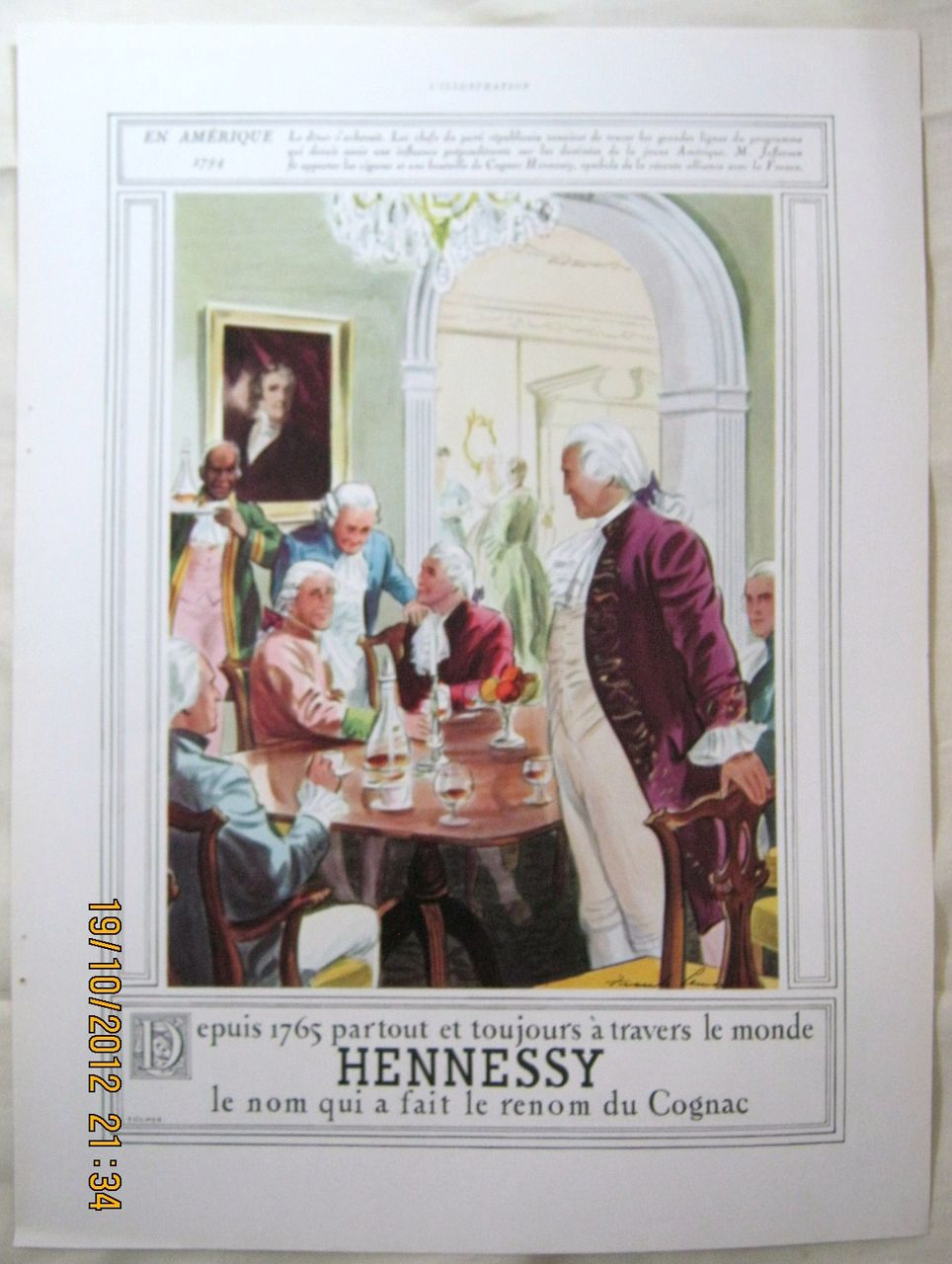 "ORIGINAL ""HENNESSY"" Advert From  L ' Illustration French Magazine  May 1938"