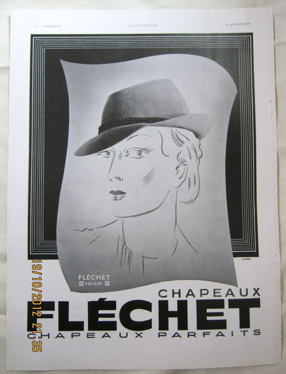 "ORIGINAL ""Chapeaux FLECHET"" Advert From  L ' Illustration French Magazine  October 1937"