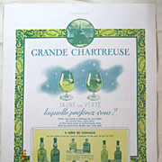 "ORIGINAL ""CHARTEUSE  APERITIF"" Advert From L ' Illustration French Magazine December 1938"