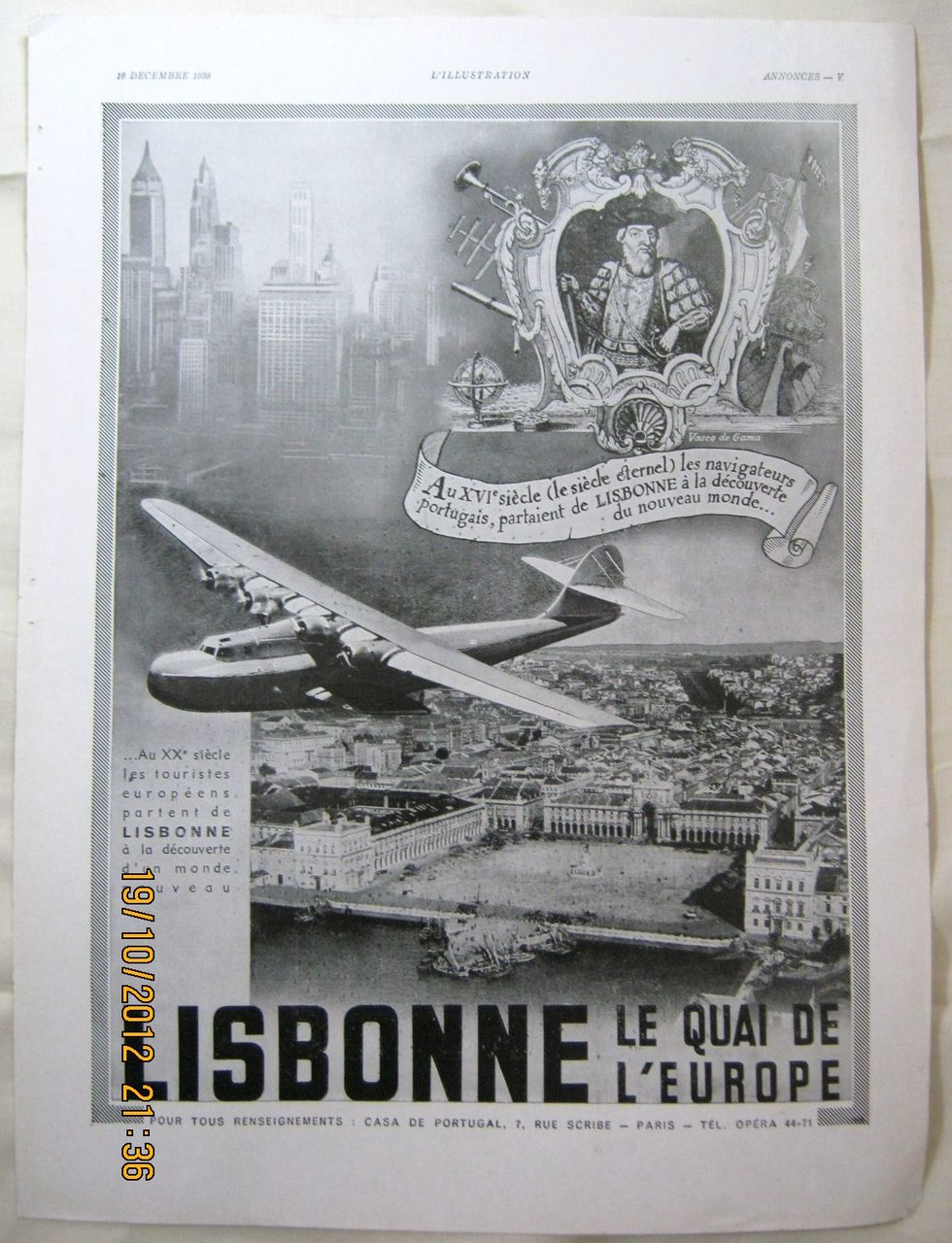 "ORIGINAL ""LISBONNE""  Tourist  Advert From L ' Illustration French Magazine December 1939"