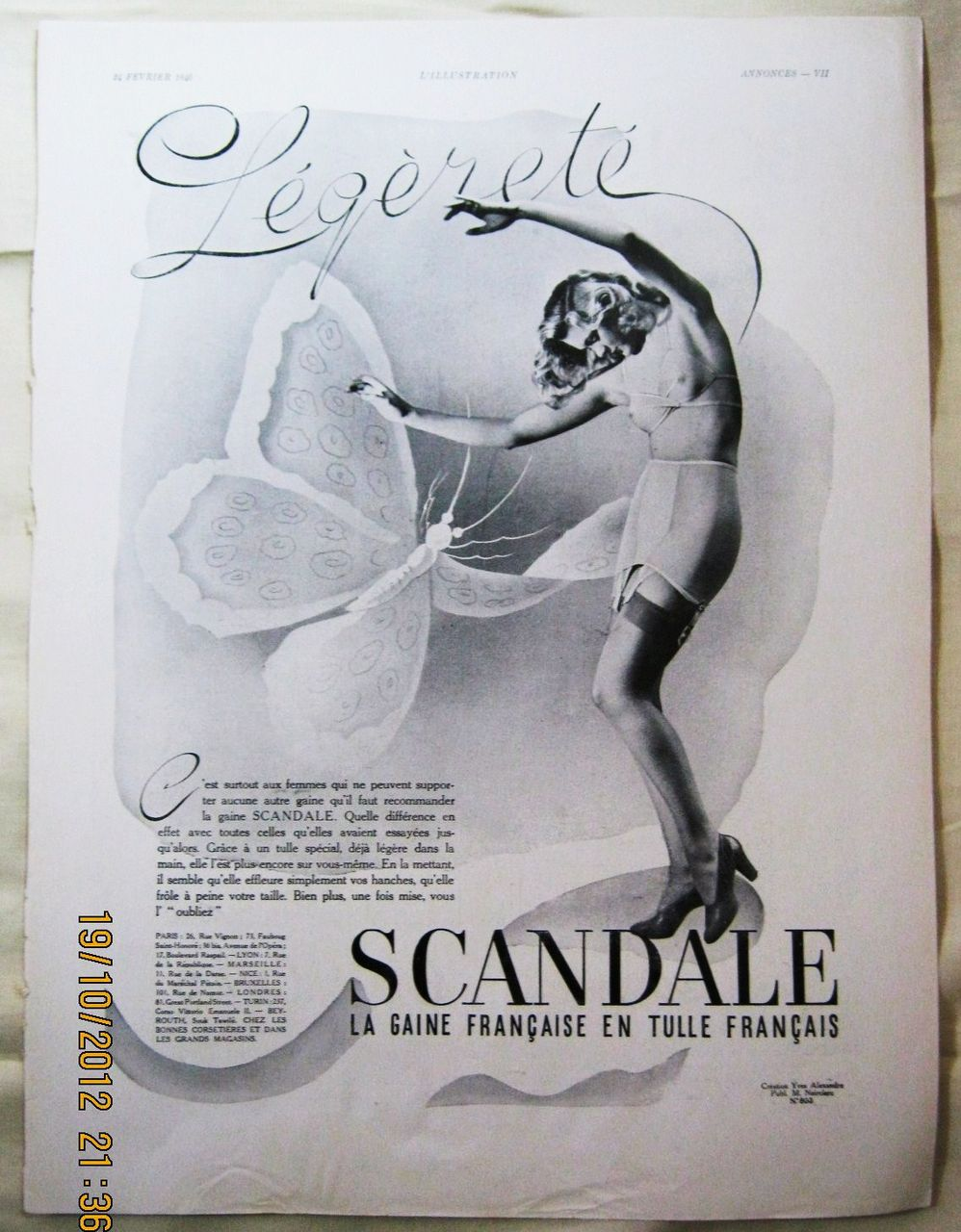 "ORIGINAL ""SCANDALE"" Advert From  L ' Illustration French Magazine  February 1940"