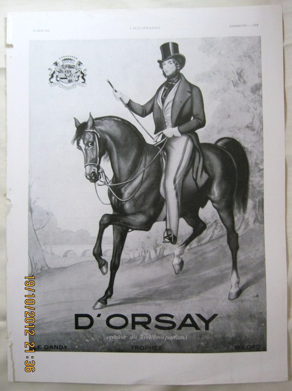 "ORIGINAL ""D'ORSAY Parfums"" Advert From  L ' Illustration French Magazine  May 1937"