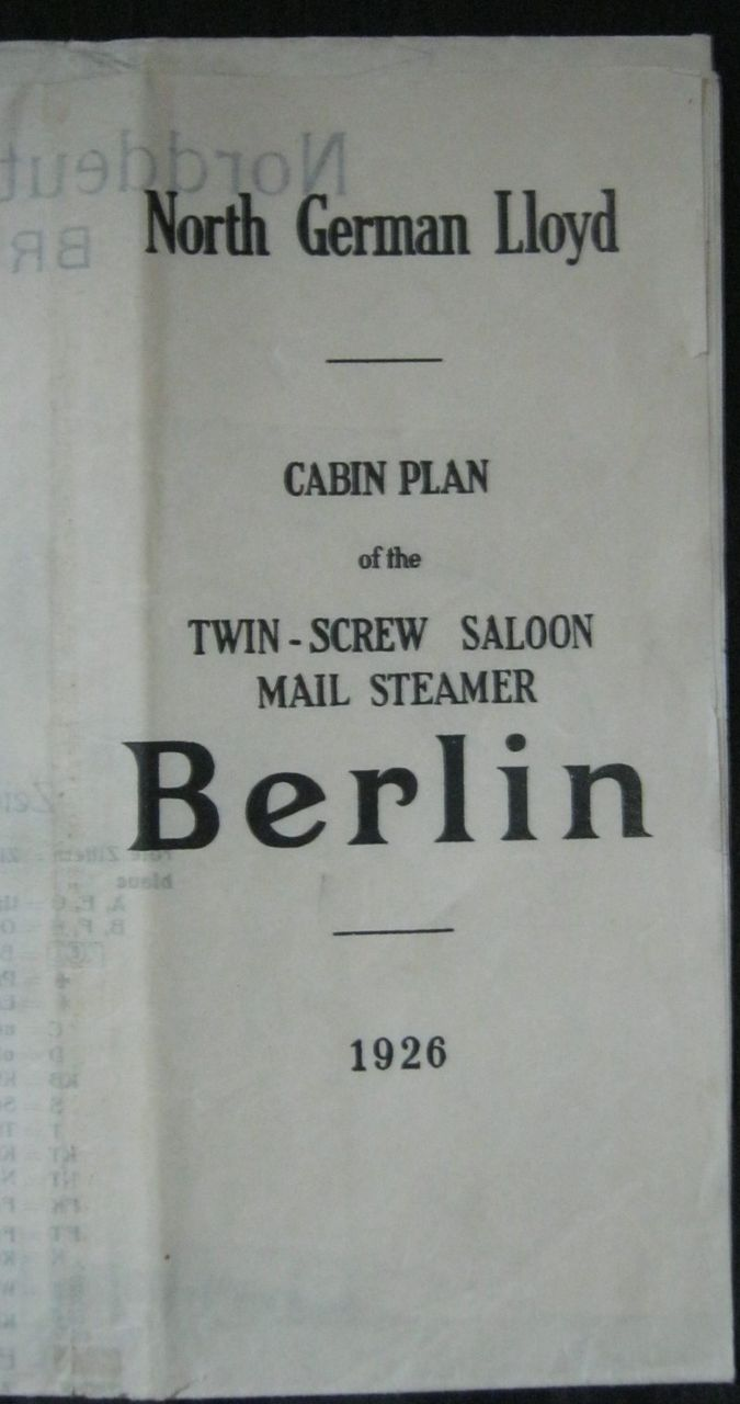 Mail Steamer  BERLIN  Deck Plans -1926