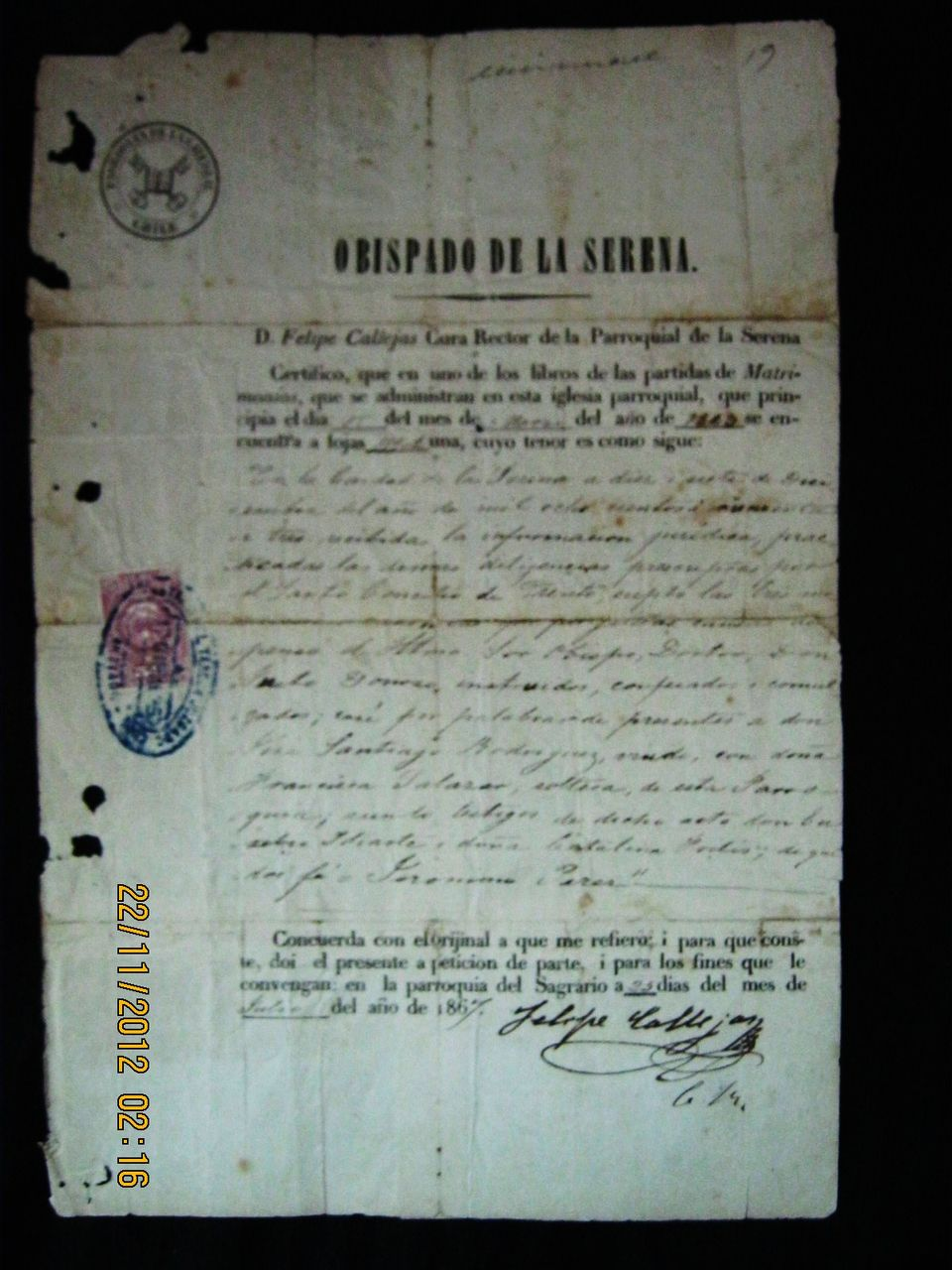 Chilean Legal Document Dated as Julio 1867