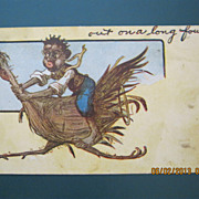 "Black American Postcard "" Out On A Long Foul"""