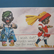 "Black American Postcard "" I Wish Dat Chick'n Would Lay For Mah"""